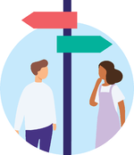 illustration of two people looking at a direction sign
