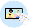 Icon-illustration of laptop with a video call and resumes