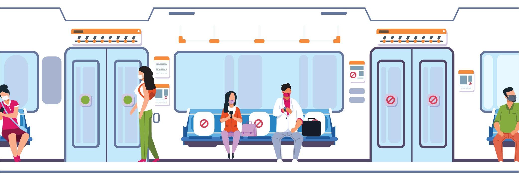 Illustration - People on city bus