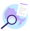 Ontario - Map of Ontario with a magnifying glass and letter