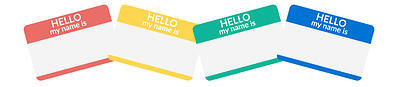 Ilustration of hello my name is cards