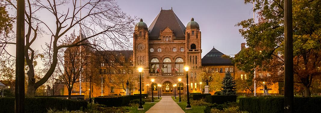 Legislative Assembly of Ontario at night