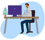 Icon - Male sitting at desk with Christmas lihgts and a tree
