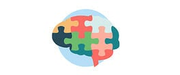 Icon-illustration of a brain jigsaw puzzle